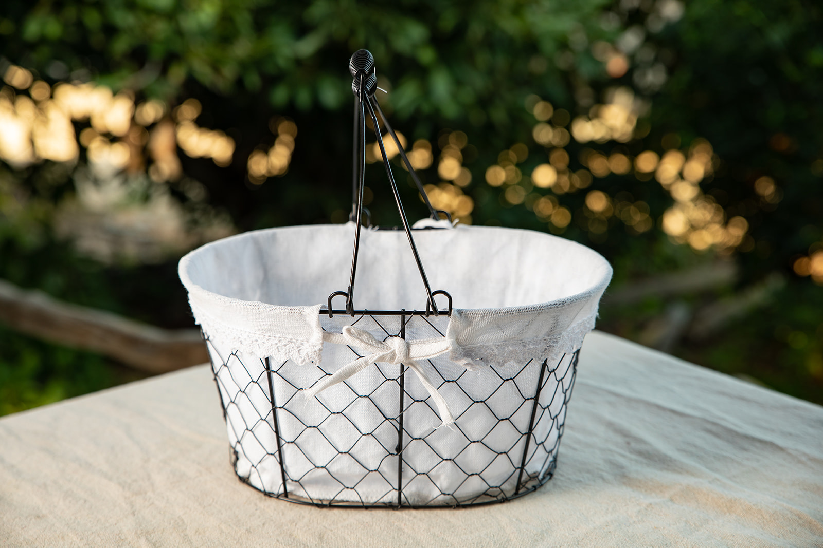 Metal Basket with White Lace Liner