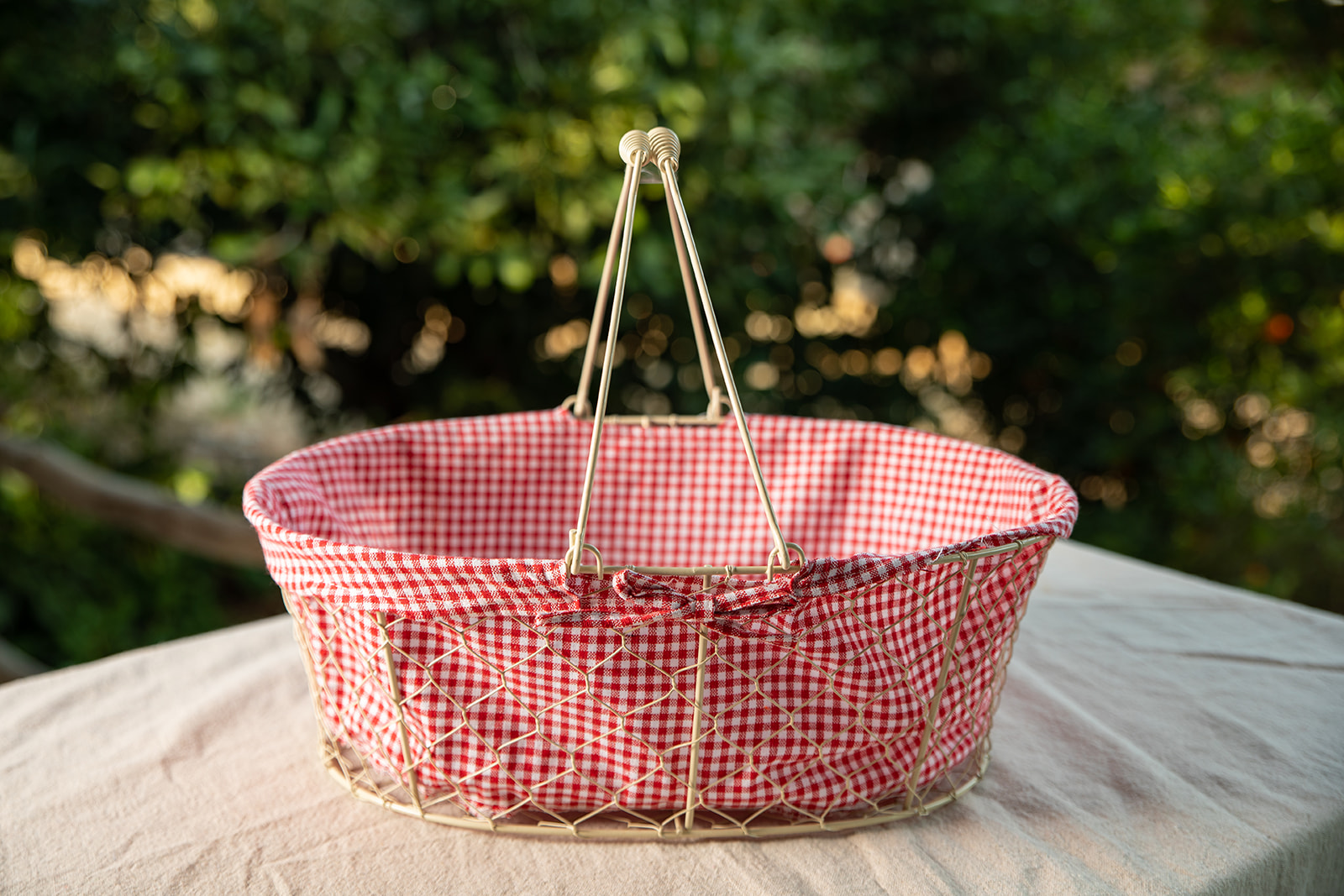 Metal Basket with Red / White Checkered Liner