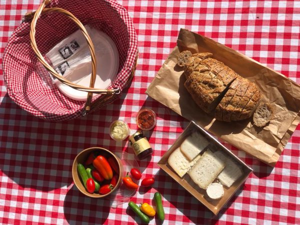 Open top rustic Picnic Basket for two