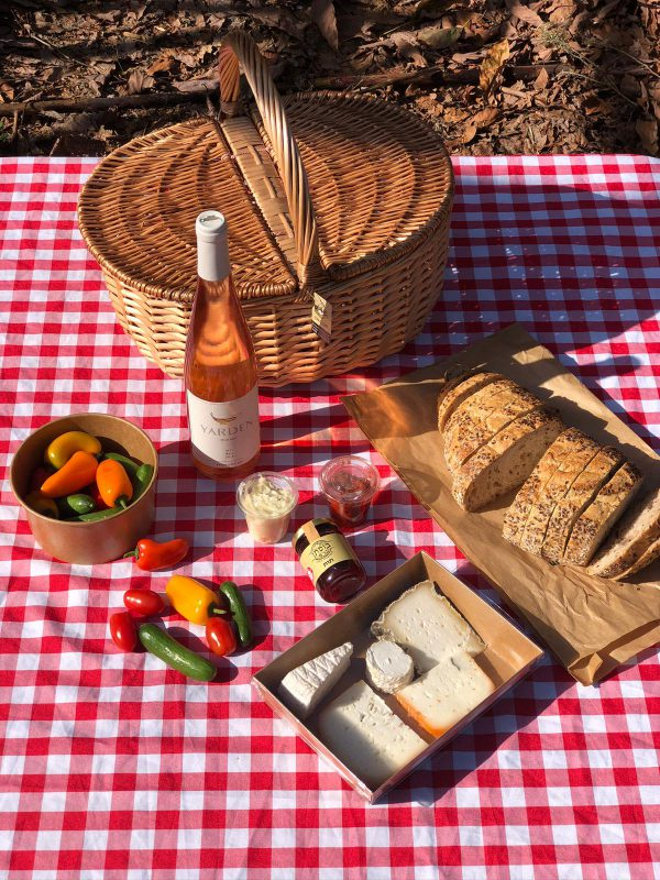 Classic Picnic Basket with Yarden Rosé wine for two