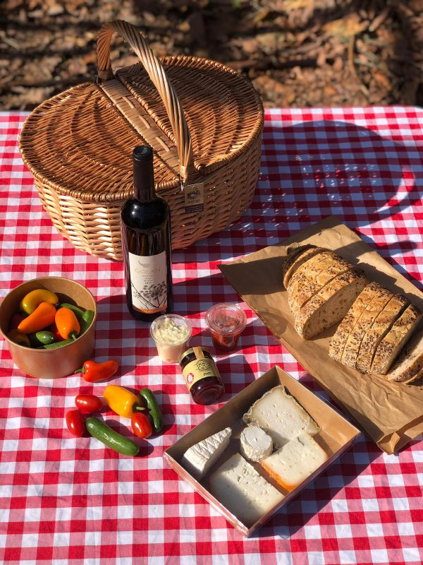 Classic Picnic Basket with Golan Merlot wine for two