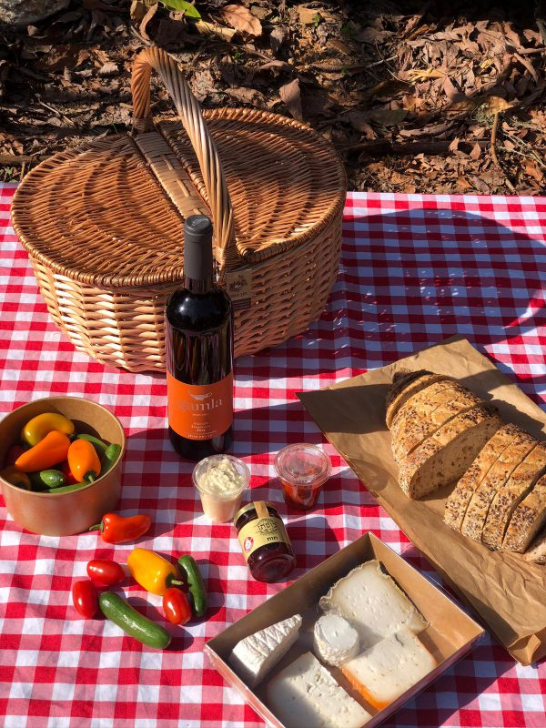 Classic Picnic Basket with Gamla Sangiovese wine for two