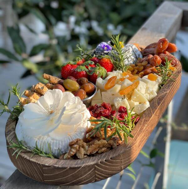 Cheese Platter for 3-5 diners with a designed concave oval board